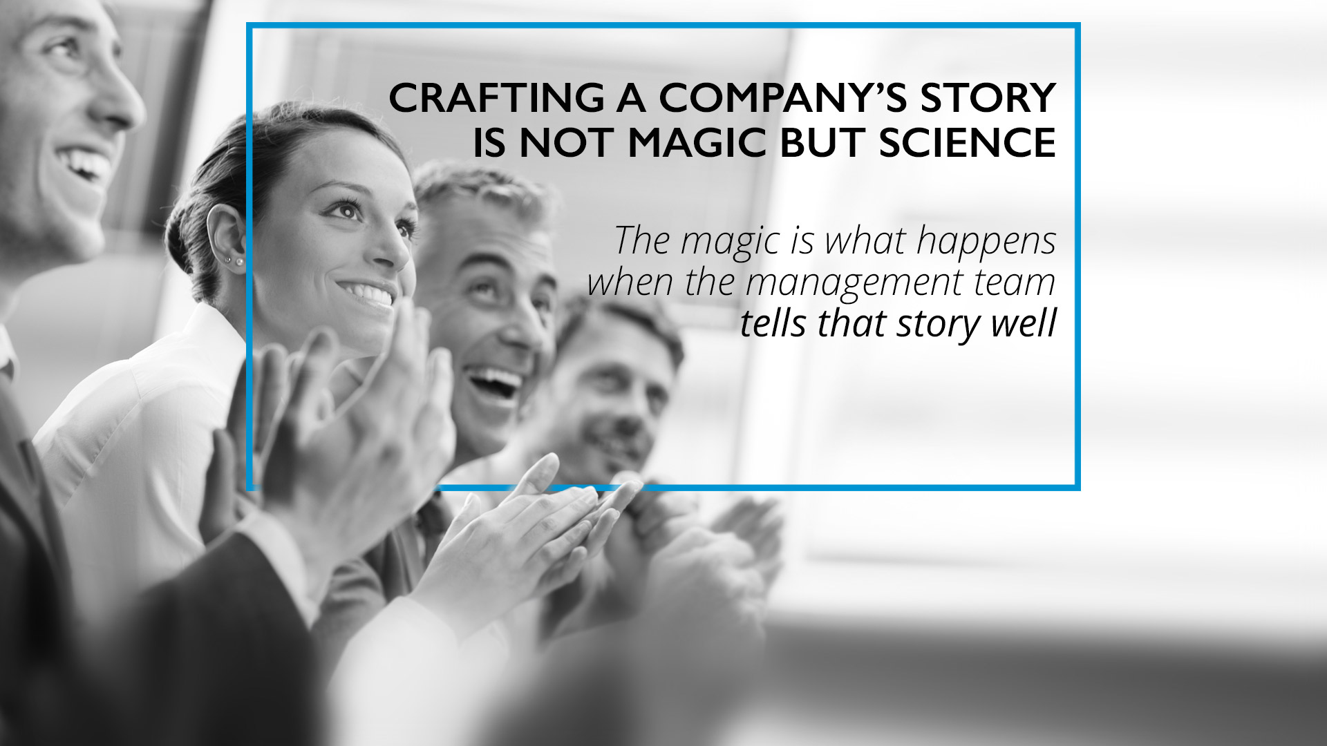 Team crafting a company's story